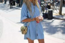 17 a chambray mini dress and white Vans