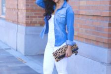 17 all-white look with a denim jacket and metallic heels