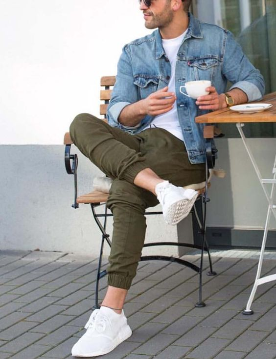 army green pants, a white tee, a denim jacket and white sneakers