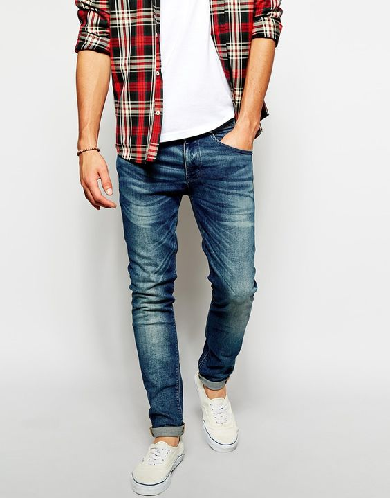 distressed denim, white Converse, a white tee and a plaid shirt