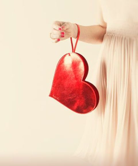 perfect red heart clutch to rock on Valentine