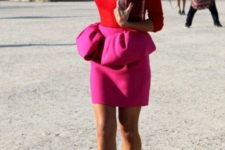 17 pink peplum mini skirt, a red top and nude heels