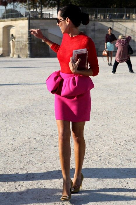 pink peplum mini skirt, a red top and nude heels