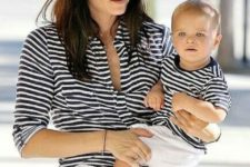 17 striped black and white tees and white pants for mom and her son