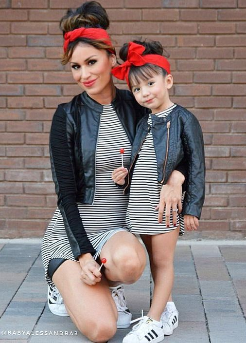 cute matching look with striped dresses, sneakers, laether jackets and red headbands