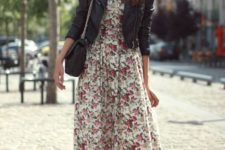 18 a flower print midi dress, a leather jacket and black Converse