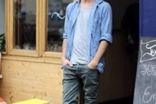 18 green jeans, a grey tee, a chambray shirt and black Converse