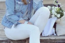 18 grey suede boots, white jeans, a denim jacket