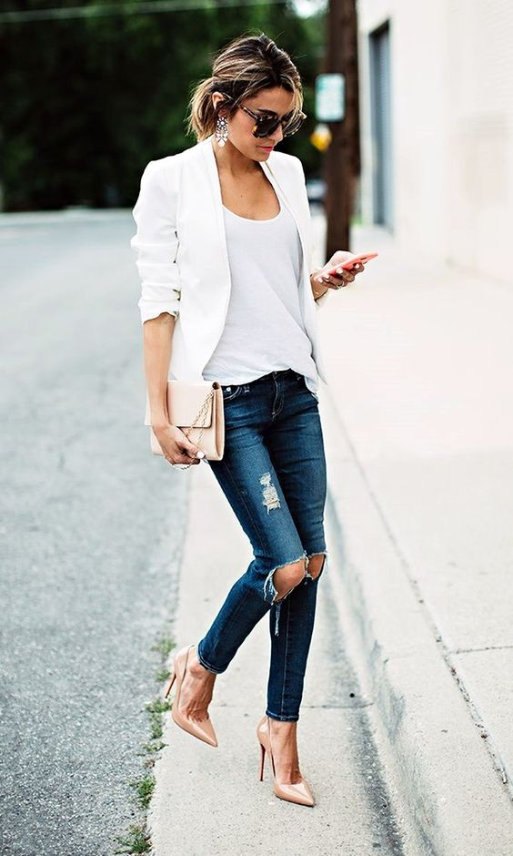 nude heels, ripped denim, a white top and a white jacket