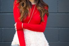 18 red long-sleeve, a fluffy blush skirt and a cross body bag