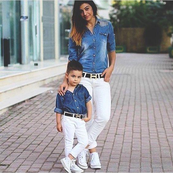 white pants, white Converse and chambray shirts