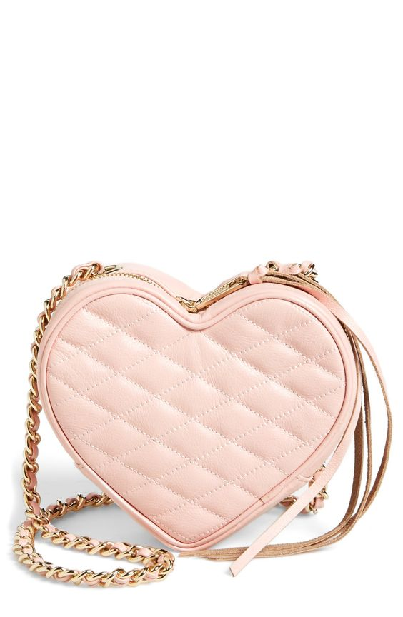 blush heart crossbody bag