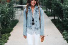 19 lace up neutral flats, white denim, a striped shirt and a denim jacket
