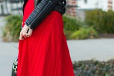 19 red pleated maxi dress and a black moto jacket