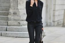19 total black look with neautral shoes