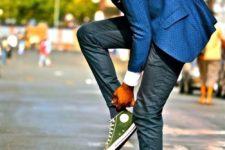 20 grey pants, a blue jacket and green Converse