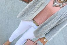 20 white jeans, a grey cardigan, dusty pink shoes, top and a tote