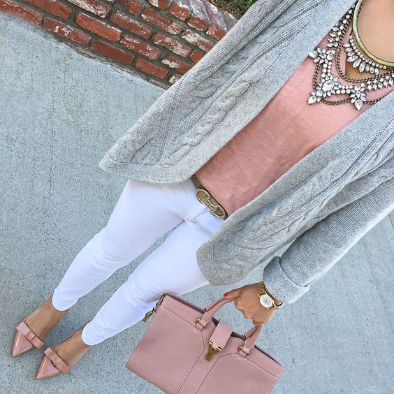 white jeans, a grey cardigan, dusty pink shoes, top and a tote