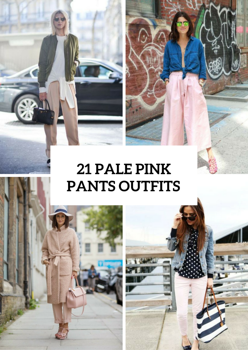 Feminine Pale Pink Pants Outfits