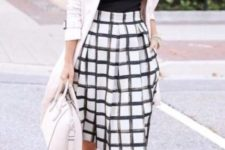 21 printed midi skirt, a black top with a statement necklace, a blush blazer and heels