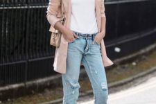 21 ripped skinnies, a white top, neutral wedges and a blush jacket