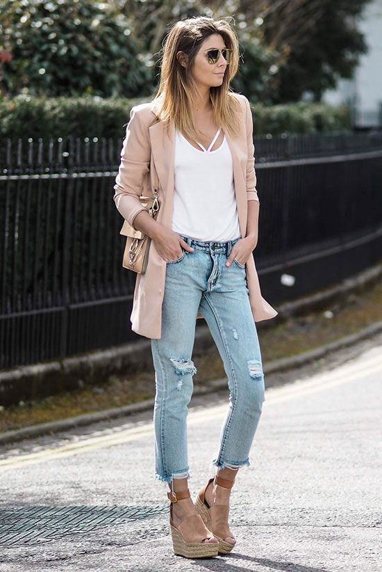 Picture Of Ripped Skinnies A White Top Neutral Wedges