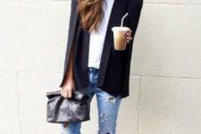 21 studded black flats, ripped denim, a white tee and a black blazer