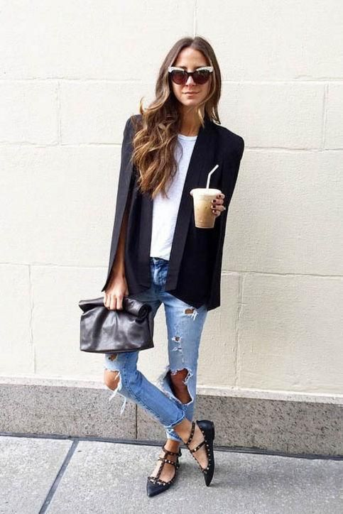 studded black flats, ripped denim, a white tee and a black blazer