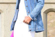 21 white jeans, a white shirt, a denim jacket, blush heels