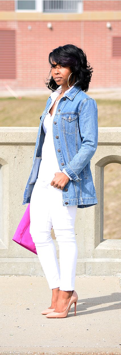 20 white jeans spring outfits to get inspired styleoholic for White pants denim shirt