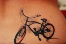 Bicycle tattoo on the back