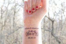 Bicycle tattoo on the wrist