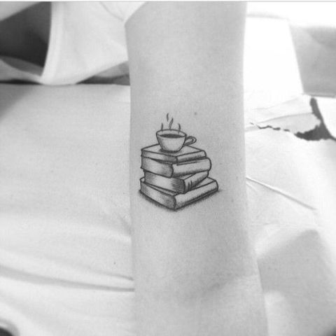 Book and cup of tea tattoo