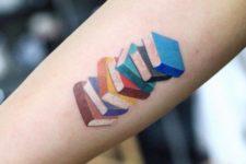 Colored books tattoo
