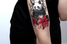 Colored panda tattoo on the arm