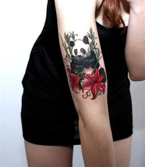 Girly Cute Panda Tattoo Designs