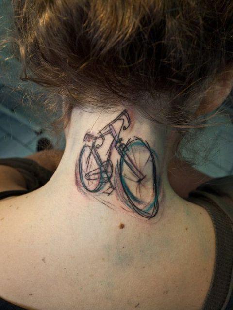Creative tattoo on the neck