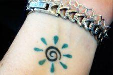 Green color sun on the wrist