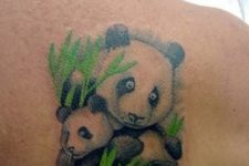 Unique mother panda and baby panda tattoo