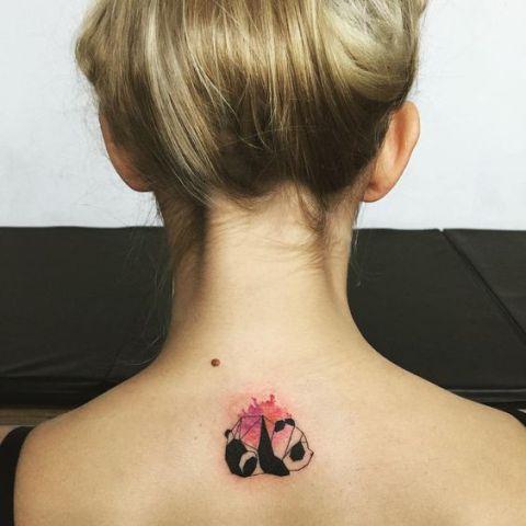 Watercolor panda tattoo on the back