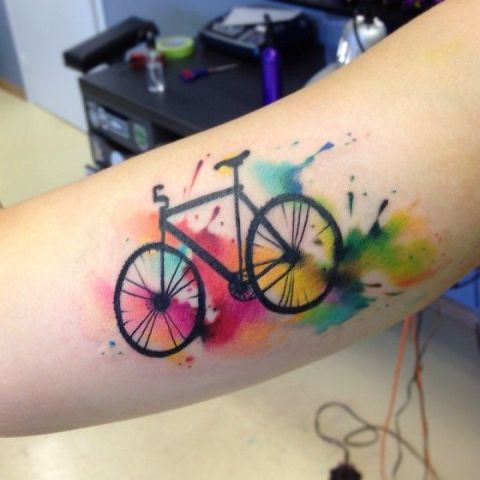 Watercolor tattoo on the arm