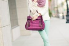 With beige shirt, pink scarf, purple bag and neutral color shoes