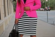 With black top, striped pencil skirt and black shoes