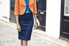 With blue blouse, pencil skirt and flats