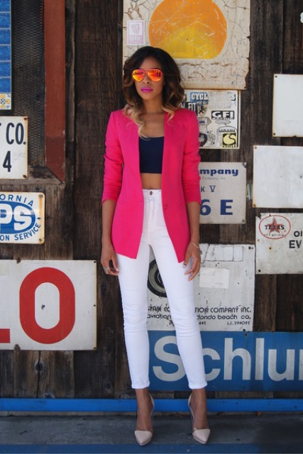 With blue top, white crop pants and beige shoes