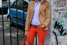 With button down shirt, camel jacket, brown bag and flats