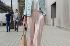 With button down shirt, pastel color jacket, bag and heels