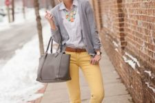 With classic shirt, gray blazer, gray bag and leopard shoes