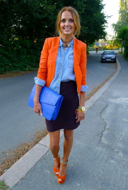 Picture Of With Denim Shirt Mini Skirt Orange Heels And