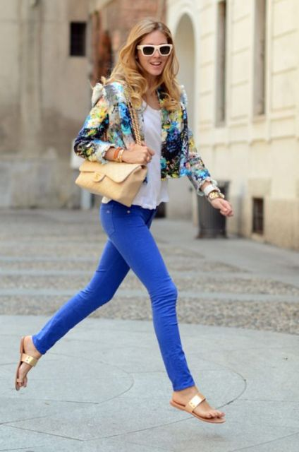 casual look with flora blazer